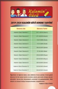 2019-2020 Kalemin Gücü Deneme Takvimi